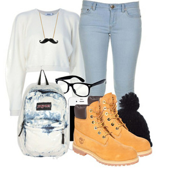 bag necklace jeans back to school mustache timberlands backpack