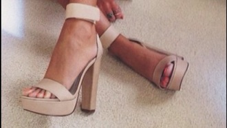 shoes beige shoes fashion cute high heels chunky heels beige high heels beige dress strap heels ankle strap heels ankle strap high heels style strappy heels hot heels casual heels