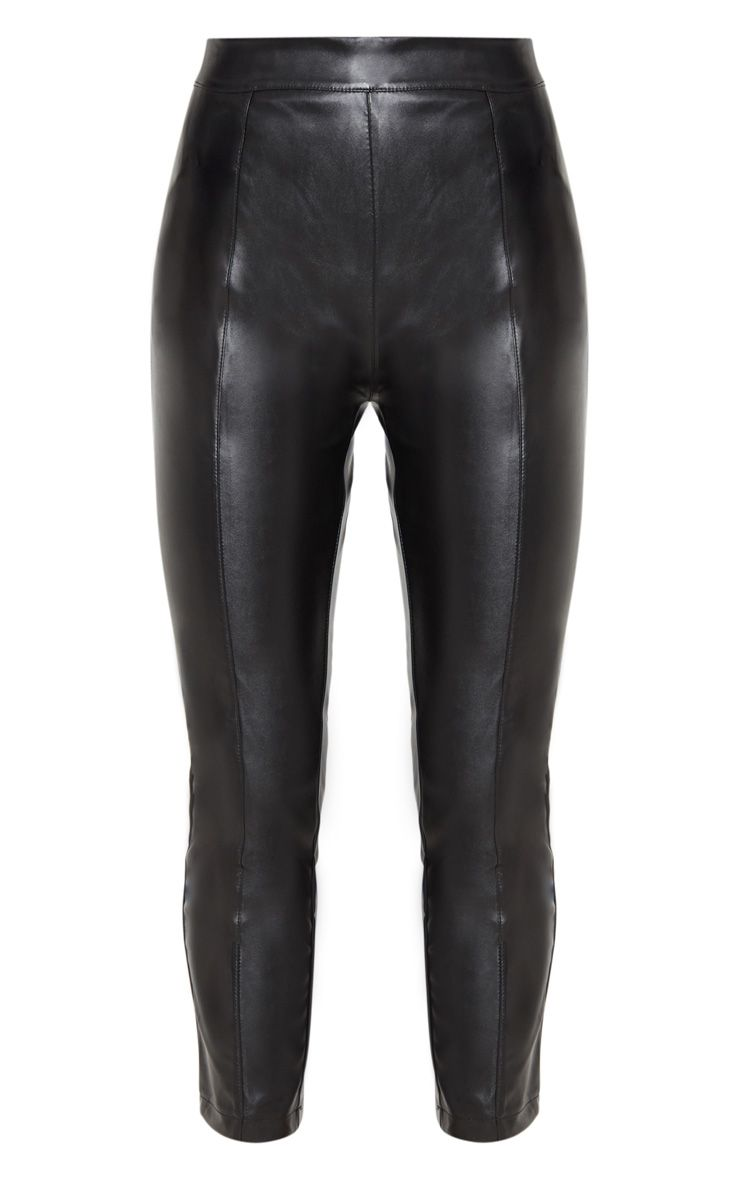 Daysha Black Cropped Faux Leather Trousers