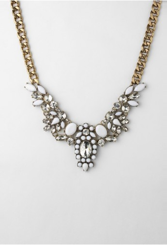Crystal and White Gem Bib Choker Necklace  - Retro, Indie and Unique Fashion