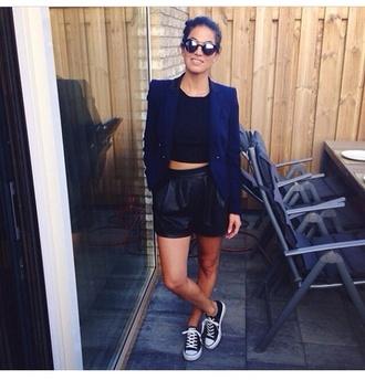 cute shorts jacket black black shorts high waisted shorts leather pants fashion sunglasses black sunglasses i need it now crop tops black crop top blue jacket urban outfitters
