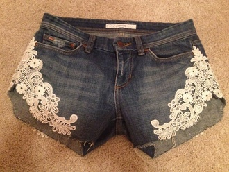 shorts lace lace shorts blue jeans blue jean shorts medium wash medium wash denim shorts denim denim shorts diy do it yourself cut offs cut off shorts lacey joe's jeans joes jeans joes joe joe's