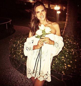 dress lace dress white lace dress alessandra ambrosio instagram summer dress