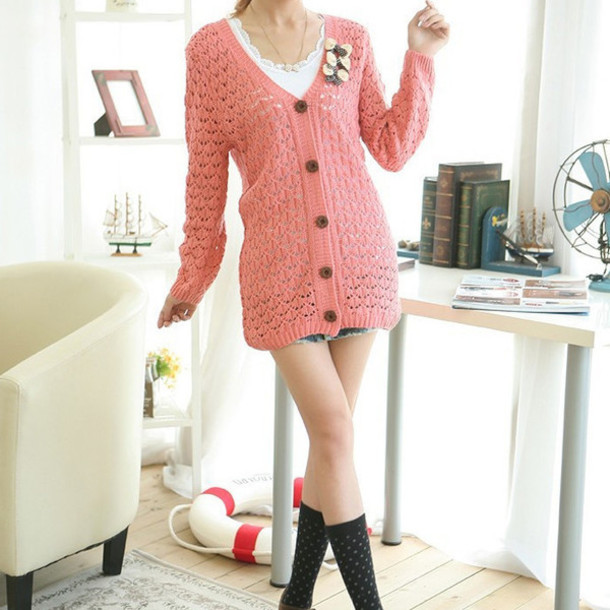 Cardigan buttons pink cute girly fashion kawaii fall outfits winter outfits casual ...