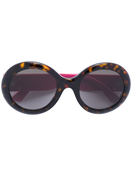 Gucci Eyewear - round frame sunglasses - women - Acetate/rubber - 53, Pink/Purple, Acetate/rubber