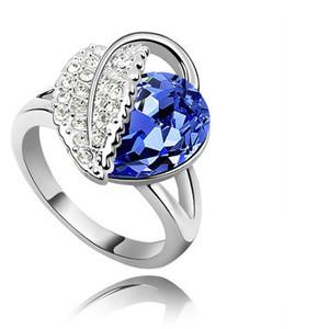 Amazing Royal Blue Crystal Leaf Ring Silver Tone Large Size Q 18 mm FR71D | Amazing Shoes UK