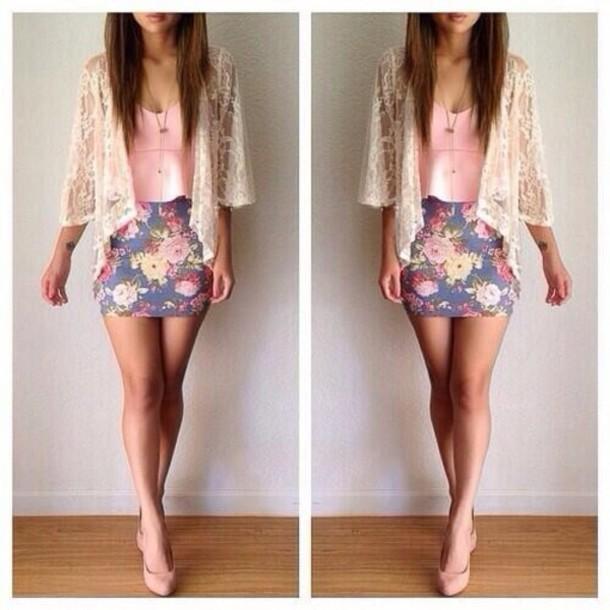 Skirt: top, cardigan