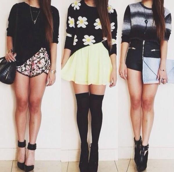 shorts flowered shorts skirt sweater shirt flowers sweater pants heels white style black heels shoes