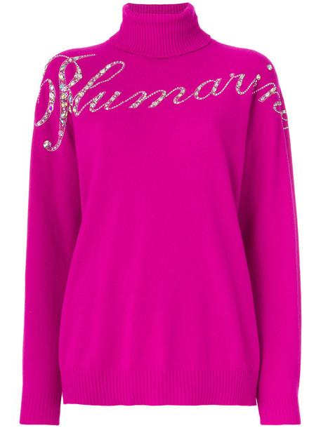 Blumarine - sequinned logo sweater - women - Cashmere/Wool - L, Pink/Purple, Cashmere/Wool
