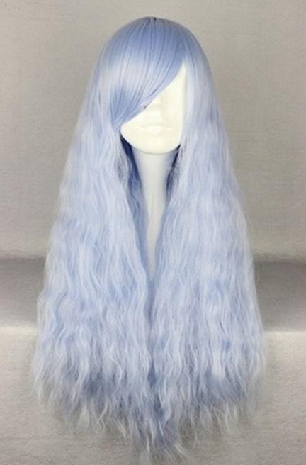 Pastel blue wavy wig from creepy cute clothing on storenvy