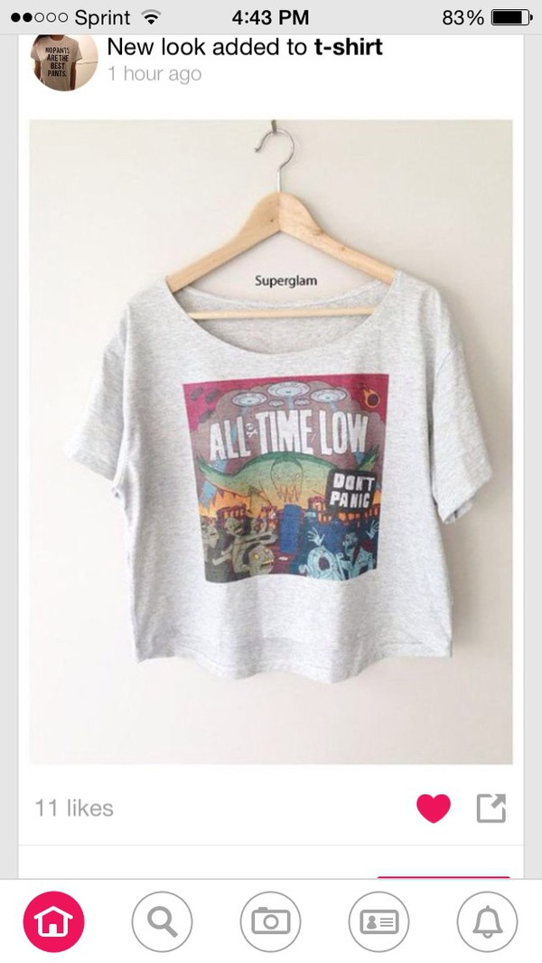 shirt band t-shirt favorite band all time low grey t-shirt loose crop top