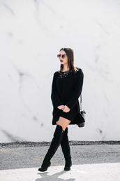 dress,tumblr,knitted mini dress,mini dress,black dress,sweater dress,long sleeves,long sleeve dress,lace up,knitwear,knitted dress,boots,black boots,over the knee boots,thigh high boots,black bag,bag,sunglasses,flat boots,round sunglasses,black knit dress