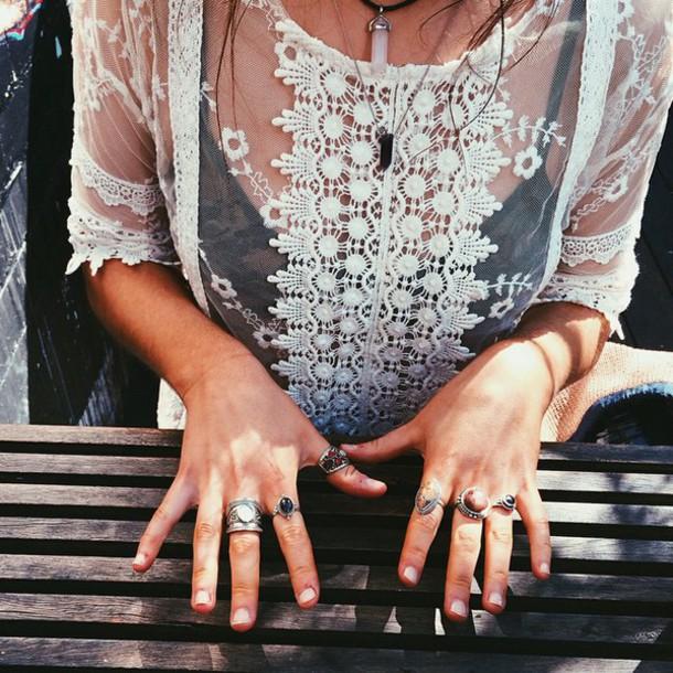 clothes crochet lace top shirt blouse see through bohemian white cute lace blouses top white top lace white top whiteblouse whiteshirt cutoutshirt top big rings seethroughshirt boho white lace white lace shirt white blouse