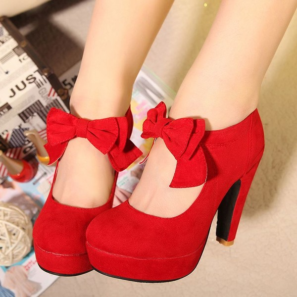 shoes red bongo bow high heels velvet