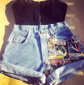 shorts,cartoon,black suede,blouse