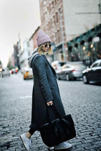 hat tumblr beanie pink beanie coat grey coat grey long coat long coat bag black bag sneakers white sneakers sunglasses