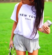 shorts,comfy,fashion,girly,top,shirt,gabi demartino,niki and gabi,new york city,soho,tumblr