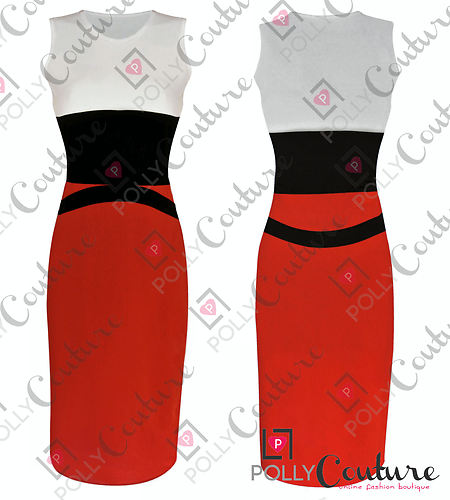 Womens Celebrity Midi Bodycon Ladies Red Pencil Evening Slimming Panel Tea Dress | Amazing Shoes UK