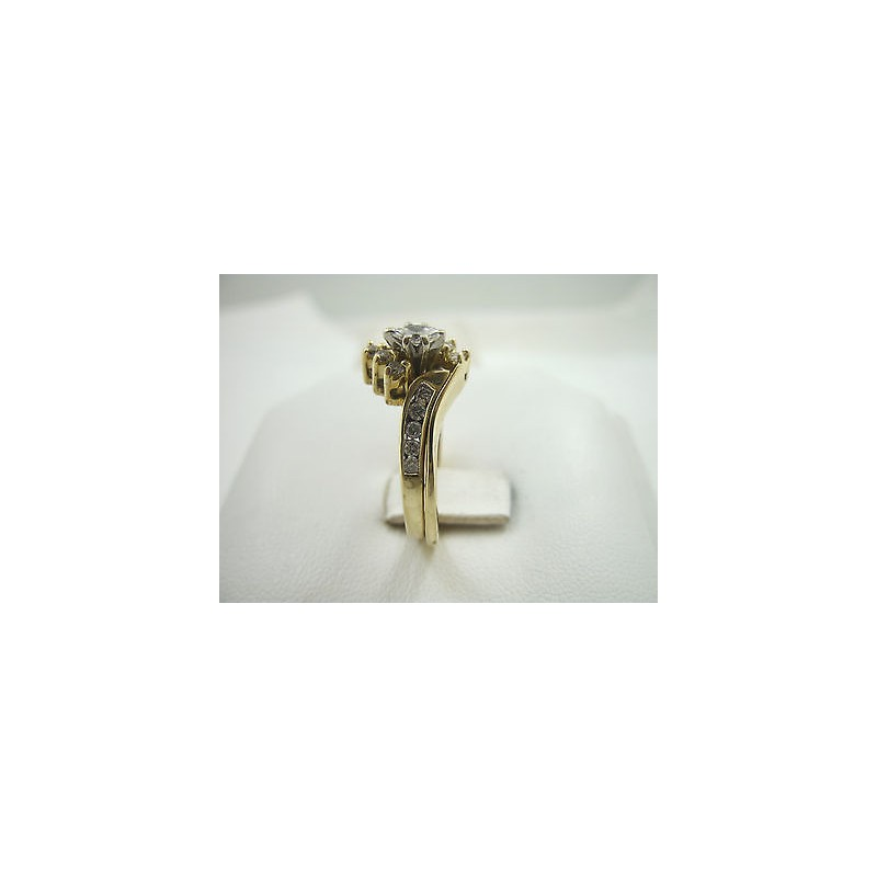 Solid 14k .55 carat diamond yellow gold wedding/engagement set, size 8, 5 grams