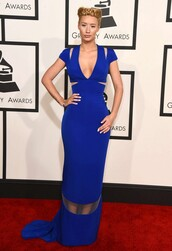 dress,gown,blue,iggy azalea,grammys 2015,maxi dress,prom dress