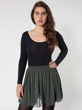 Chiffon Double-Layered Shirred Waist Skirt | American Apparel