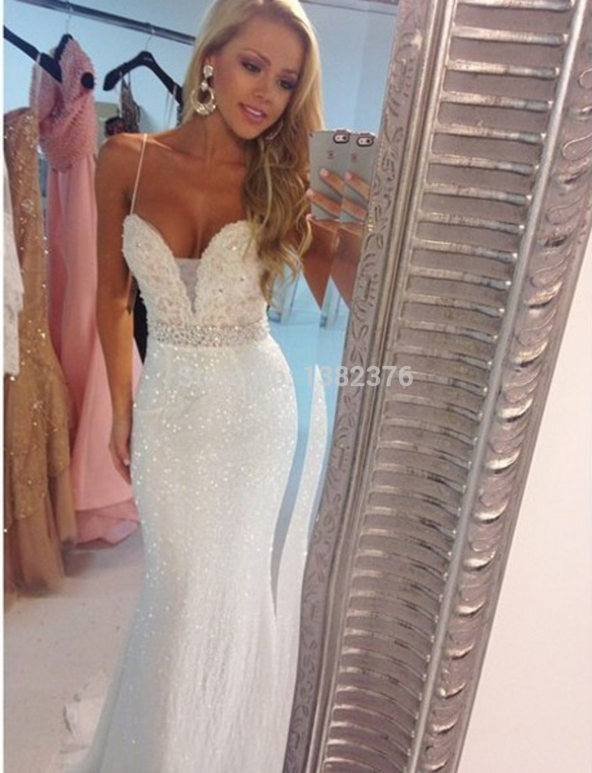 Aliexpress.com : Buy Prom Dresses Sexy Spaghetti Straps Sparkling Sequin Ivory Mermaid Prom Dresses Beading Formal Gowns vestido festa formatura from Reliable gown store suppliers on AngelLover Weddings&Events Dresses Co.,Ltd.