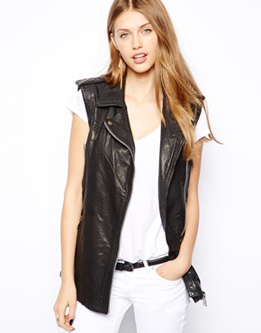 Mango | Mango Leather Biker Sleeveless Jacket at ASOS
