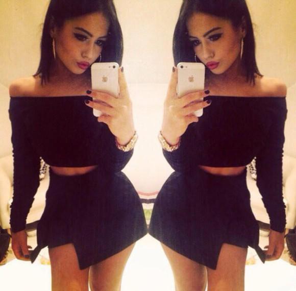 black skirt cute
