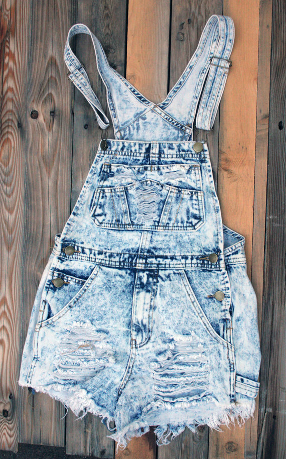 Denim distressed, shredded bib overall shorts