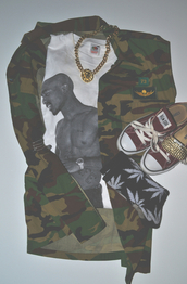 t-shirt,tupac,shirt,jewels,converse,socks,shoes,gold chain,jacket,military style,fashion,tupac shirt,leather jacket,dope,camo jacket,army green jacket,tumblr outfit,bag,fall outfits,camouflage