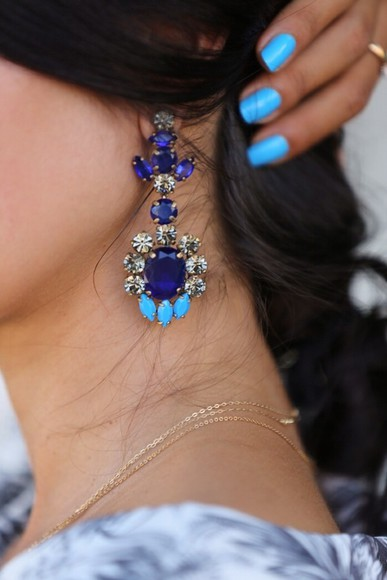 jewels earrings blue earrings prom bag