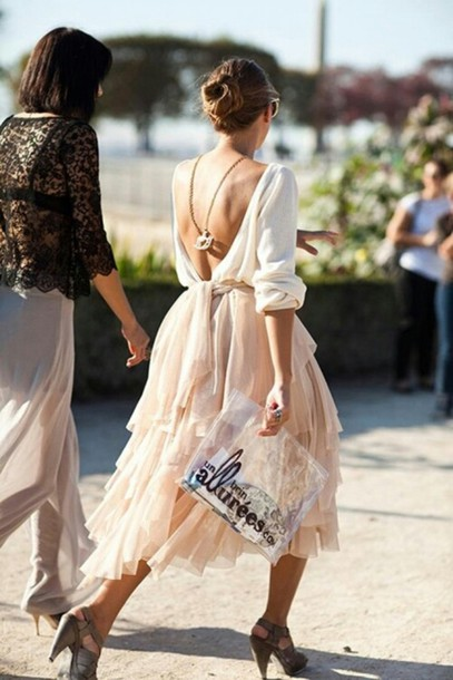 skirt,tulle skirt,cream,shoes,jewels,backless sweater,champagne dress,open back dresses,ruffle,quarter sleeve dress,blouse,dress,clothes,shirt