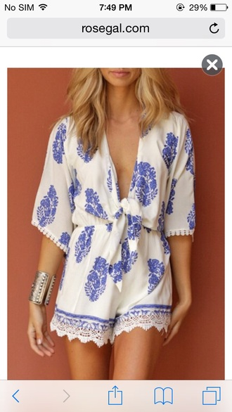 blue and white romper v neck boho lace romper print tie-front top