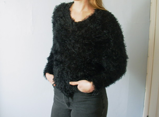 Sweater: fuzzy sweater, black sweater, black, 90s style, vintage ...