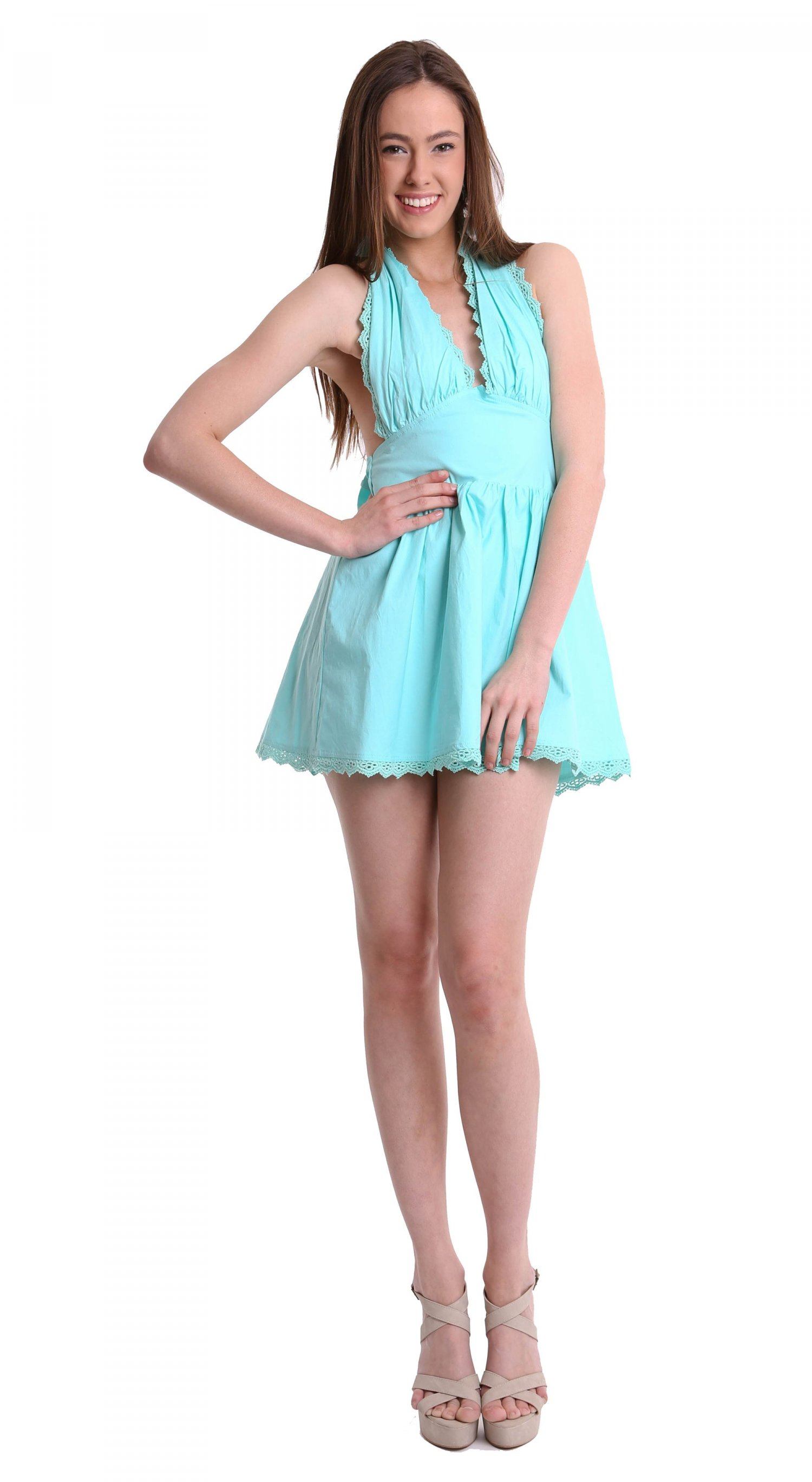 Teal halter dress with ribbon