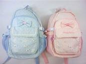 bag,light pink,baby blue,lolita,pastel bag,pastel goth,backpack,pastel,bow backpack,pink,blue