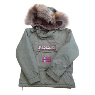 coat khaki napapijiri fur coat