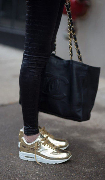 shoes bag sneakers gold