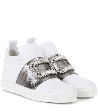 high embellished sneakers leather white shoes
