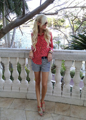 a spoonful of style,shirt,shorts,shoes,sunglasses,bag,jewels
