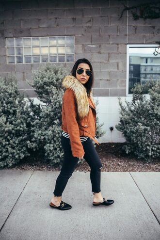 jaclynmittman blogger jacket jeans coat sweater shoes cardigan top gucci shoes loafers orange jacket skinny jeans winter outfits
