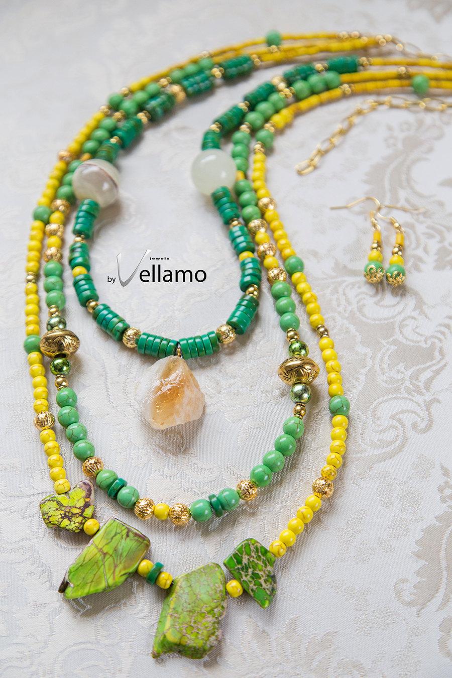 Large green and yellow multi strand fashion statement necklace large green and yellow multi strand fashion statement necklace jasper slabs citrine pendant natural agate aloadofball Choice Image