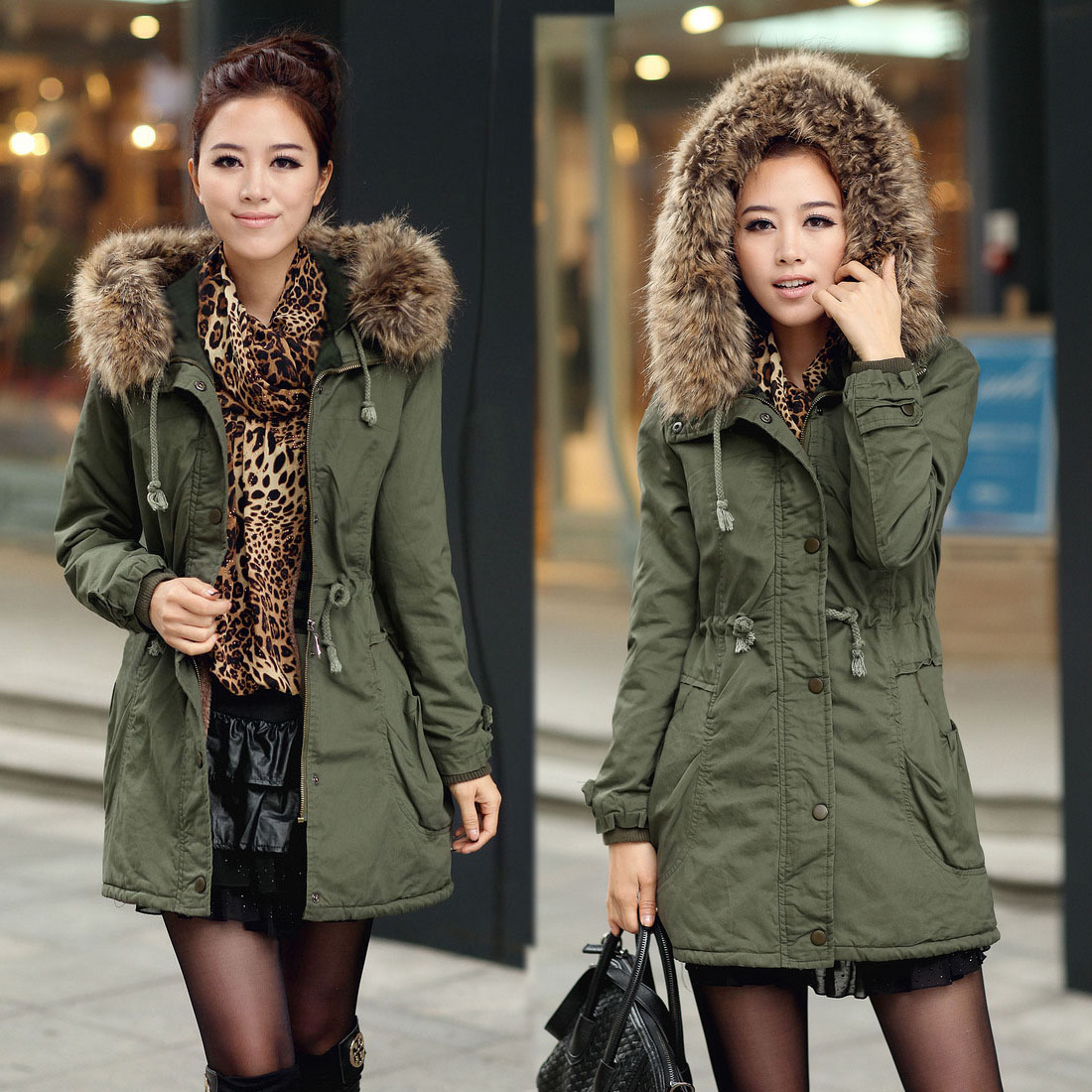 Warm Winter Trench Coat Fleece Jacket Hooded Parka Long Overcoat ...
