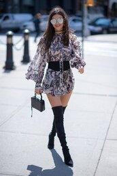 dress,boho dress,boots,over the knee boots,victoria justice,belt,fall outfits,sunglasses,streetstyle,NY Fashion Week 2016,jewels,jewelry,necklace,choker necklace,wrap choker,wrap necklace,black choker,celebrity style,celebrity,jewel cult