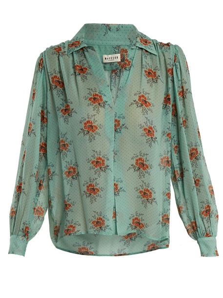 blouse floral print silk green top