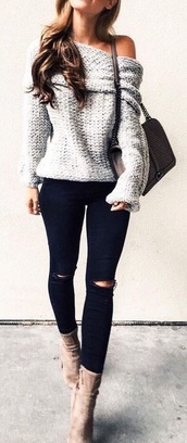 shoes,where to get top and shoes,sweater,light grey/white,grey,grey knit sweater,jeans,black skinny ripped jeans,grey off shoulder sweaterr,white,offshoulder,fall outfits,thick sweater,blouse,chile