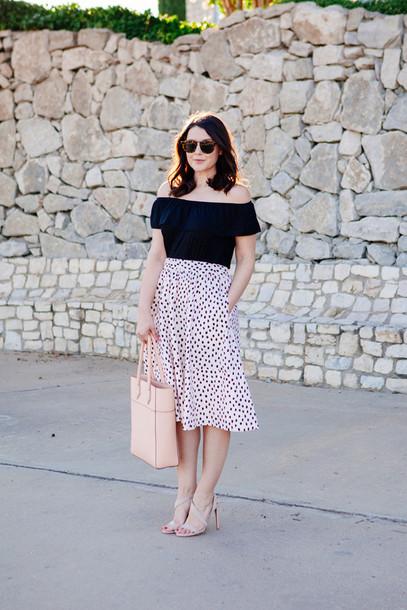 0ef3744c414c kendi everyday blogger off the shoulder top midi skirt nude sandals tote  bag black off shoulder