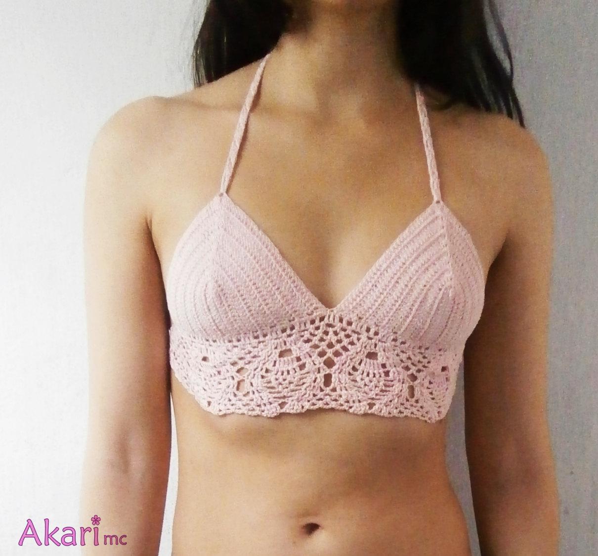 40% OFF. Light pink crochet top. Boho halter festival top. Hippie backless crop top. Pineapple motif. _ PNC1
