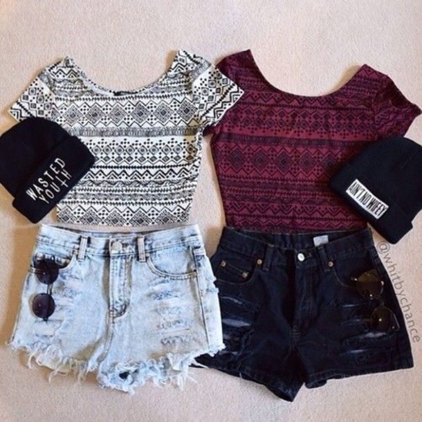 top crop tops summer outfits red wine aztec shirt t-shirt cardigan hat shoes shorts colorful vintage grunge indie crop tops ourfit hair accessory
