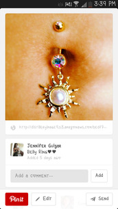 jewels,belly piercing,cute,gold,pearl,belly button ring